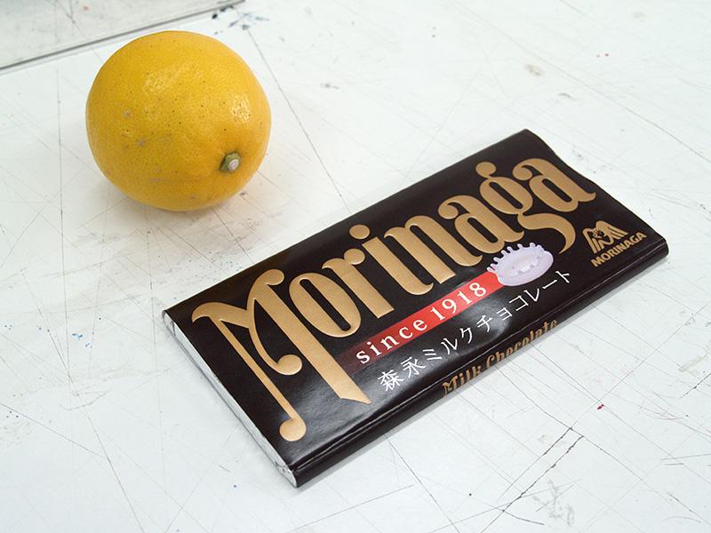 板チョコとレモンのモチーフ