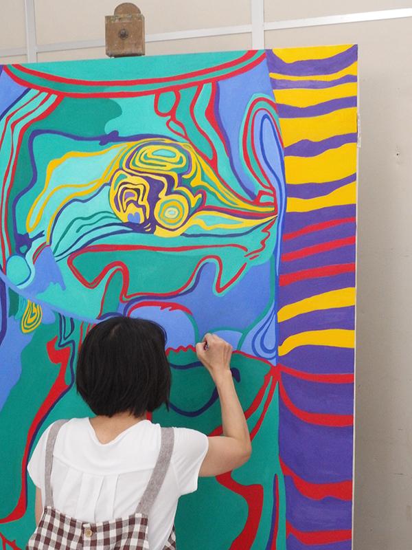 油絵クラスの授業風景